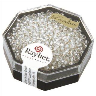 Premium-Rocailles, 2,2 mm ø, bergkristall, Dose 12g, mit Silbereinzug