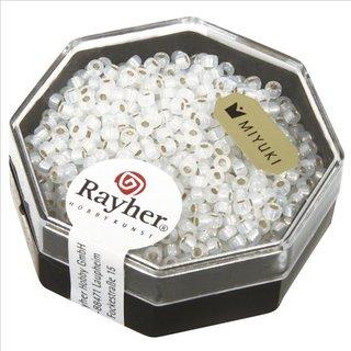 Premium-Rocailles, 2,2 mm ø, weißopal, Dose 12g, mit Silbereinzug
