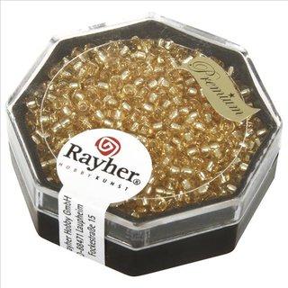 Premium-Rocailles, 2,2 mm ø, helltopas, Dose 12g, mit Silbereinzug