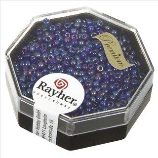 Premium-Rocailles, 2,2 mm ø, ultrablau, transparent Rainbow, Dose 8g