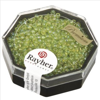 Premium-Rocailles, 2,2 mm ø, apfelgrün, transparent Rainbow, Dose 8g