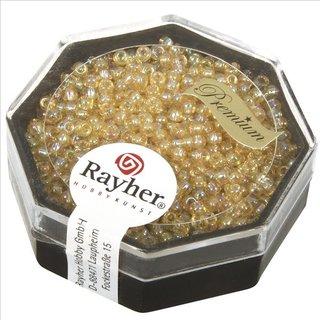 Premium-Rocailles, 2,2 mm ø, helltopas, transparent Rainbow, Dose 8g