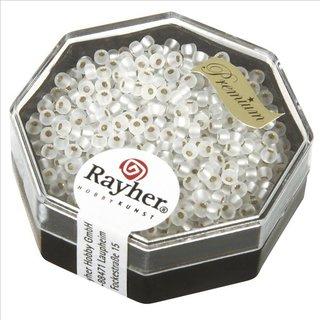 Premium-Rocailles, 2,2 mm ø, frost, mit Silbereinzug, gefrostet, Dose 8g