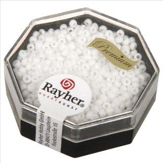 Premium-Rocailles, 2,2 mm ø, weiß, Dose 12g, opak