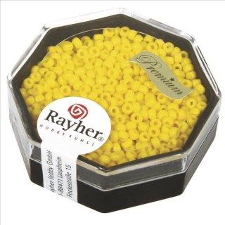 Premium-Rocailles, 2,2 mm ø, goldgelb, Dose 8g, opak