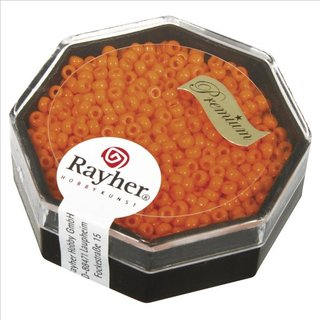 Premium-Rocailles, 2,2 mm ø, capriorange, Dose 8g, opak