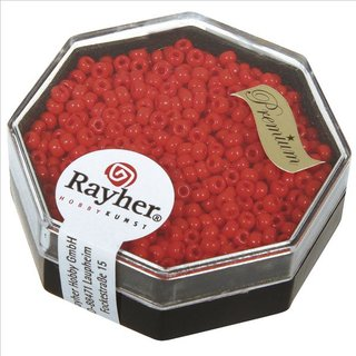 Premium-Rocailles, 2,2 mm ø, feuerrot, Dose 8g, opak