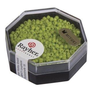Premium-Rocailles, 2,2 mm ø, apfelgrün, Dose 12g, opak