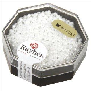 Premium-Rocailles, 2,2 mm ø, alabasterweiß, opak gelüstert, Dose 8g