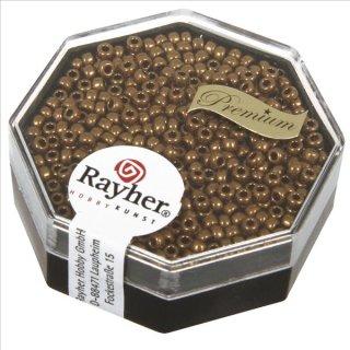 Premium-Rocailles, 2,2 mm ø, kupfergold, Dose 4g, metallic
