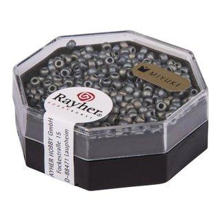 Premium-Rocailles, 2,2 mm ø, anthrazit, metallic gefrostet, Dose 6g