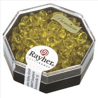 Magatama Perlen, transparent, goldgelb, 4x7 mm, länglich, Dose 12g