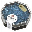 Magatama Perlen, transparent, aquamarin, 4x7 mm, länglich, Dose 12g