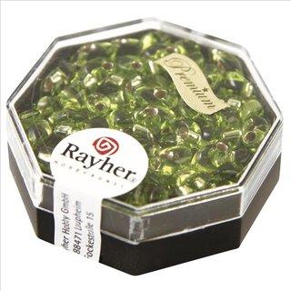 Magatama Perlen, Silbereinzug, apfelgrün, 4x7 mm, länglich, Dose 9g