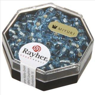 Magatama Perlen, Silbereinzug, aquamarin, 4x7 mm, länglich, Dose 9g