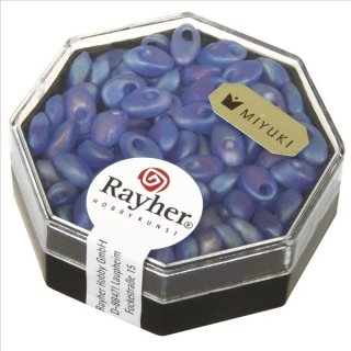 Magatama Perlen, trans.Frost, Regenbogen, royalblau, 4x7 mm, länglich, Dose 9g