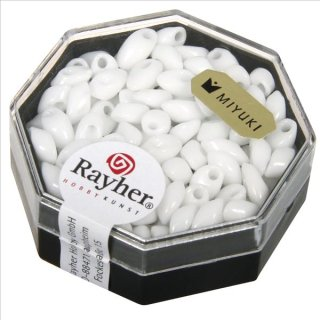 Magatama Perlen, opak, weiß, 4x7 mm, länglich, Dose 12g
