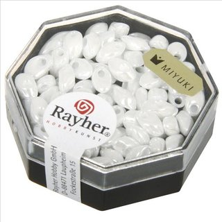 Magatama Perlen, opak, gelüstert, weiß, 4x7 mm, länglich, Dose 9g