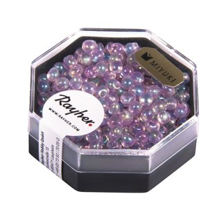Miyuki-Perle-Drop,transparent,Regenbogen, rosé, ø 3,4 mm, Dose 8g
