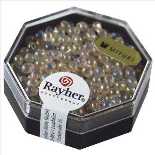 Miyuki-Perle-Drop,transparent,Regenbogen, lachsrosa, ø 3,4 mm, Dose 8g