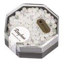 Miyuki-Perle-Drop, transp. gefrostet, alabasterweiß, Dose 8g, ø 3,4 mm, Regenbogen