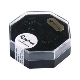 Miyuki-Perle Tila, opak, gelüstert, schwarz, 6g, 6Gramm, 5x5x1,9mm, m. Doppelloch ø0,8mm, Dose