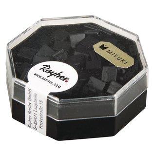 Miyuki-Perle-Tila, opak, gefrostet, schwarz, 5x5x1,9 mm, Dose  6g, Doppell. ø 0,8 mm