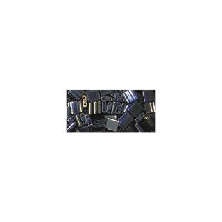 Miyuki-Perle-Tila, metallic, blaugrau, Dose 6g, 5x5x1,9 mm, Doppell. ø 0,8 mm