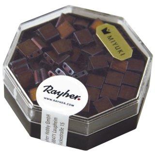 Miyuki-Perle-Tila, metallic, gefrostet, rotbraun, Dose 4g, 5x5x1,9 mm, Doppell. ø 0,8 mm