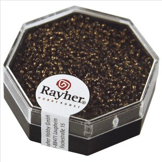 Premium-Rocailles, mit Silbereinzug, mokka, ø 1,5 mm, Dose 5g