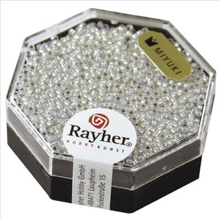 Premium-Rocailles, mit Silbereinzug, weißopal, ø 1,5 mm, Dose 5g
