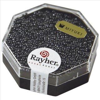 Premium-Rocailles, metallic , anthrazit, Dose 4g, ø 1,5 mm