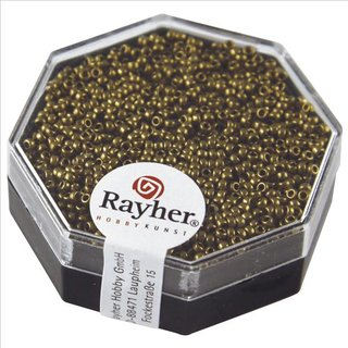Premium-Rocailles, metallic , kupfergold, Dose 3g, ø 1,5 mm