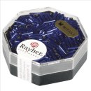 Miyuki-Glasstifte, transp., royalblau, 6x1,7mm transp. m. Silbereinzug, Dose 8g