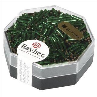Miyuki-Glasstifte, transp., smaragd, 6x1,7mm transp. m. Silbereinzug, Dose 8g