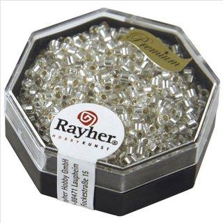 Delica-Rocailles, 2,2 mm ø, bergkristall, mit Silbereinzug