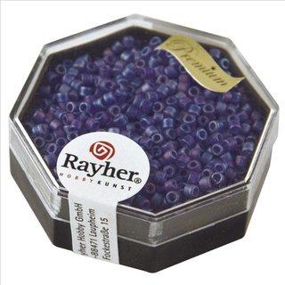 Delica-Rocailles, 2,2 mm ø, royalblau, 9g, transparent Rainbow matt