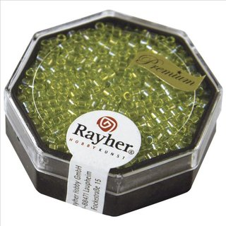 Delica-Rocailles, 2,2 mm ø, apfelgrün, 8g, transparent Rainbow