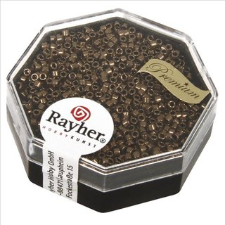 Delica-Rocailles, 1,6 mm ø metallic, rauch topas, Dose 4g