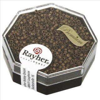 Delica-Rocailles, 1,6 mm ø metallic matt, rauch topas, Dose 4g