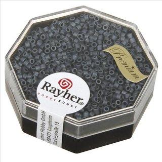 Delica-Rocailles, 1,6 mm ø metallic matt, blaugrau, Dose 6g