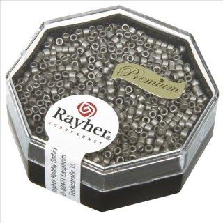 Delica-Rocailles, 1,6 mm ø metallic matt, stahlgrau, Dose 4g