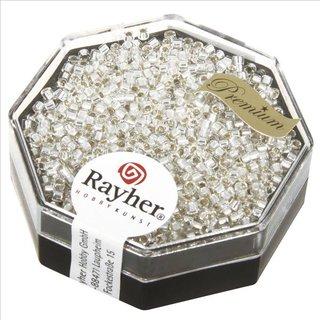 Delica-Rocailles, 1,6 mm ø , bergkristall, Dose 6g,, mit Silbereinzug