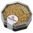 Delica-Rocailles, 1,6 mm ø , helltopas, Dose 6g, mit Silbereinzug
