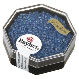 Delica-Rocailles, 1,6 mm ø,  Rainbow , azurblau, Dose 8g, transparent, matt