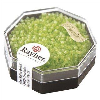 Delica-Rocailles, 1,6 mm ø,  Rainbow , apfelgrün, Dose 8g, transparent, matt