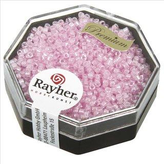 Delica-Rocailles, 1,6 mm ø , rosé, Dose 8g, transparent Rainbow