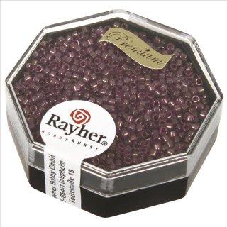 Delica-Rocailles, 1,6 mm ø , violett hell, Dose 6g, transparent Rainbow