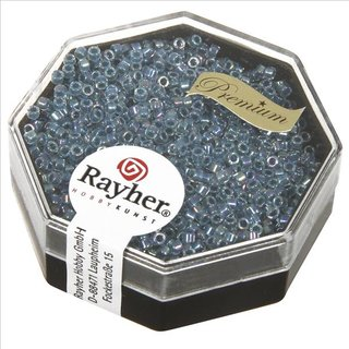 Delica-Rocailles, 1,6 mm ø , azurblau, Dose 8g, transparent Rainbow