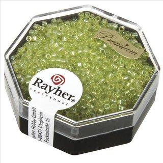 Delica-Rocailles, 1,6 mm ø , apfelgrün, Dose 8g, transparent Rainbow